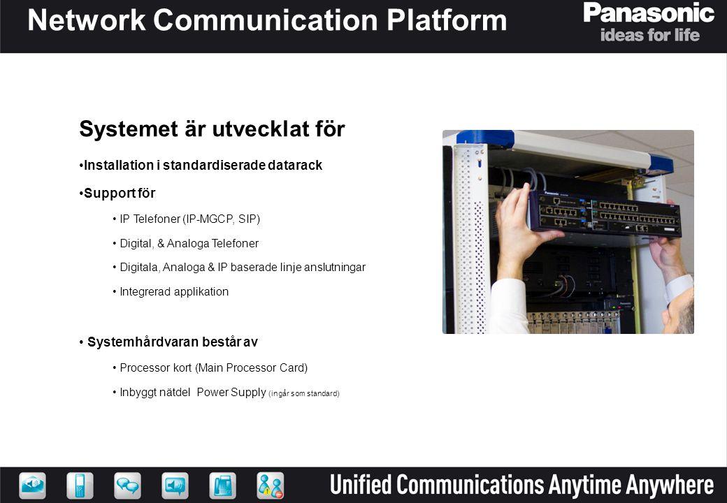 IP Telefoner – KX-NT300 •IP Telefoner –Panasonic IP Telefoner är en komplett serie –Utvecklat efter egen design koncept •Tydliga knappar och signal lampor, justerbar lutning •Extremet bra ljudkvalite (Hifi Audio) •Ström kan matas över IP nätverket - Power Over Ethernet (POE) –Möjlighet att kryptera samtal •Nya funktioner –Programerbara knappar •Self Labeling Flexible CO-Keys –Bluetooth för koppling till headset –Justerbar lutning på både telefon och display