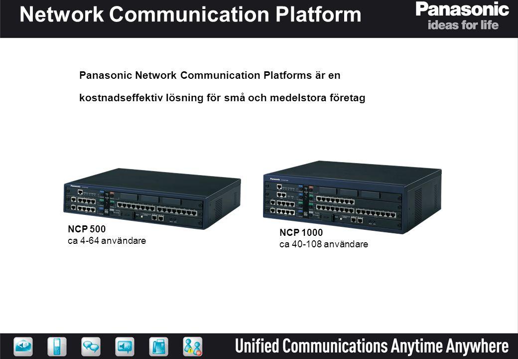 NCP - Network Communication Plattform Med Panasonics smart call routing, call centre funktionalitet och nya desktop verktyg för användaren, kan företag bli mer effektiva och ge en bättre kundservice.