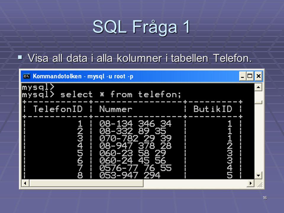 16 SQL Fråga 1  Visa all data i alla kolumner i tabellen Telefon.