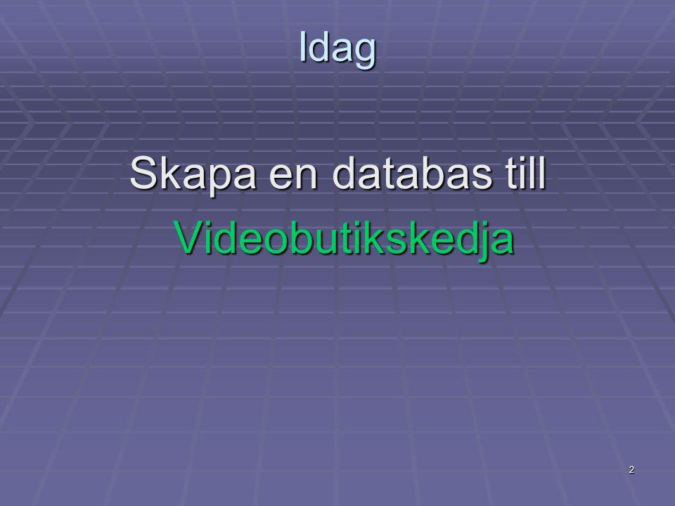 2 Idag Skapa en databas till Videobutikskedja Videobutikskedja