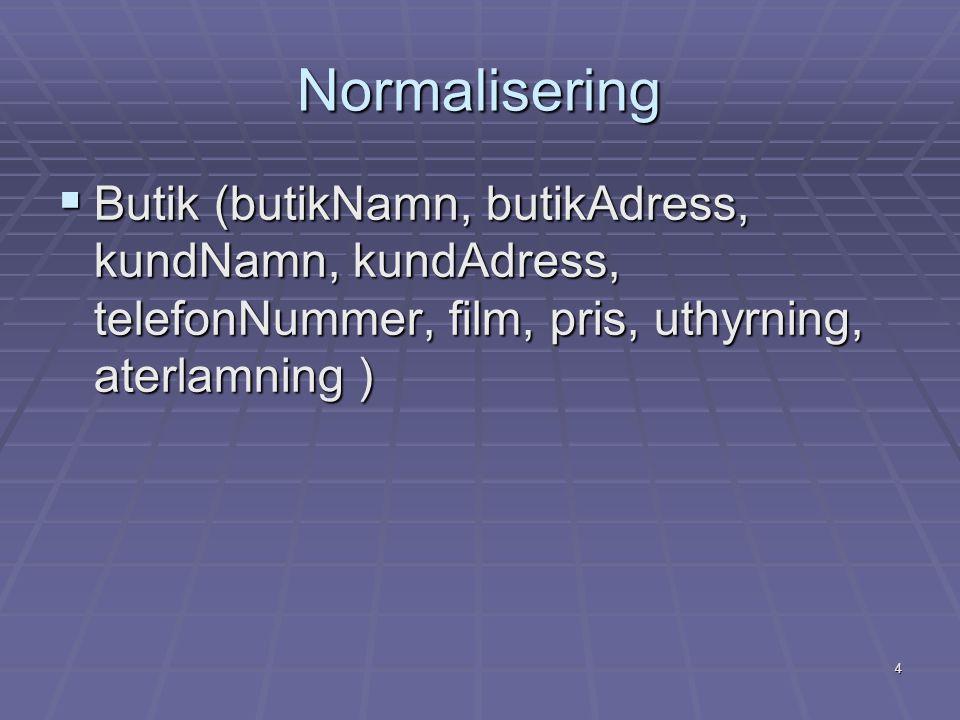 4 Normalisering  Butik (butikNamn, butikAdress, kundNamn, kundAdress, telefonNummer, film, pris, uthyrning, aterlamning )