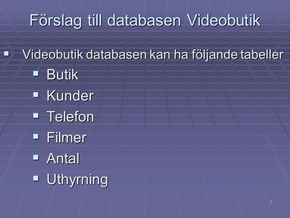 5 Förslag till databasen Videobutik  Videobutik databasen kan ha följande tabeller  Butik  Kunder  Telefon  Filmer  Antal  Uthyrning