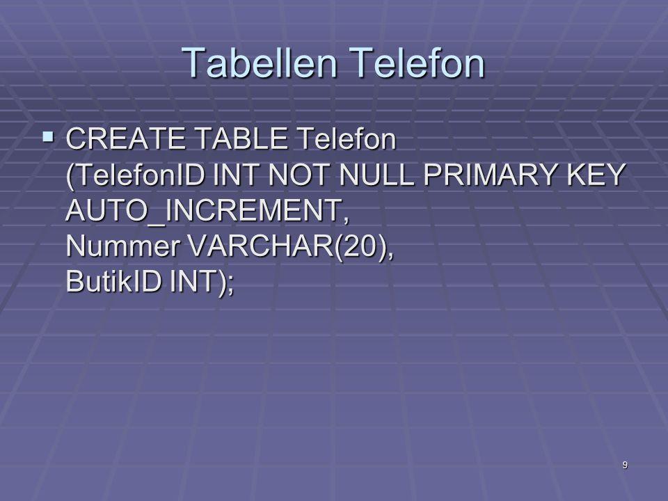 9 Tabellen Telefon  CREATE TABLE Telefon (TelefonID INT NOT NULL PRIMARY KEY AUTO_INCREMENT, Nummer VARCHAR(20), ButikID INT);