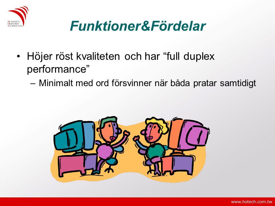 """Funktioner&Fördelar •Höjer röst kvaliteten och har """"full duplex performance"""" –Minimalt med ord försvinner när båda pratar samtidigt"""