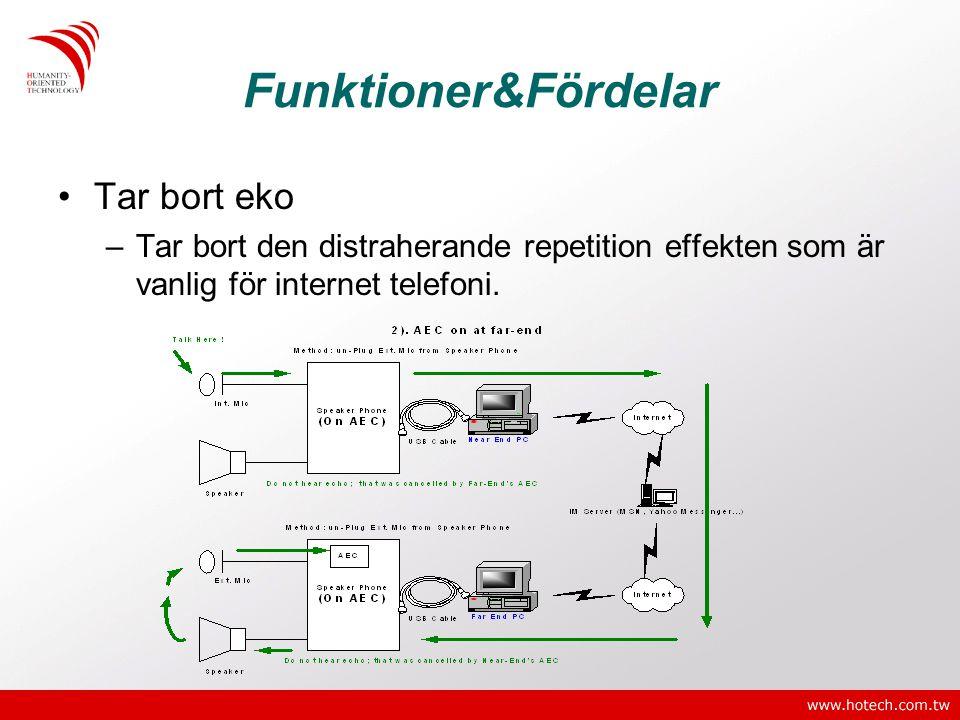 Funktioner&Fördelar •Tar bort eko –Tar bort den distraherande repetition effekten som är vanlig för internet telefoni.