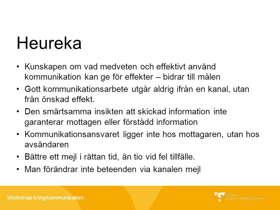 Workshop kring kommunikation Heureka •Kunskapen om vad medveten och effektivt använd kommunikation kan ge för effekter – bidrar till målen •Gott kommu