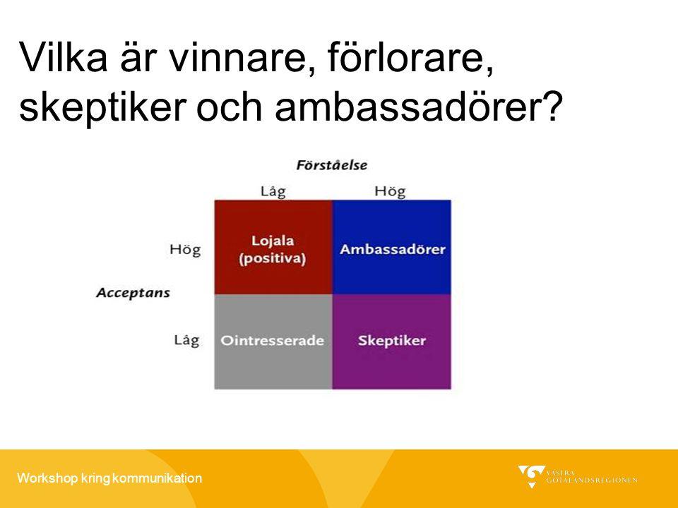 Workshop kring kommunikation Vilka är vinnare, förlorare, skeptiker och ambassadörer?