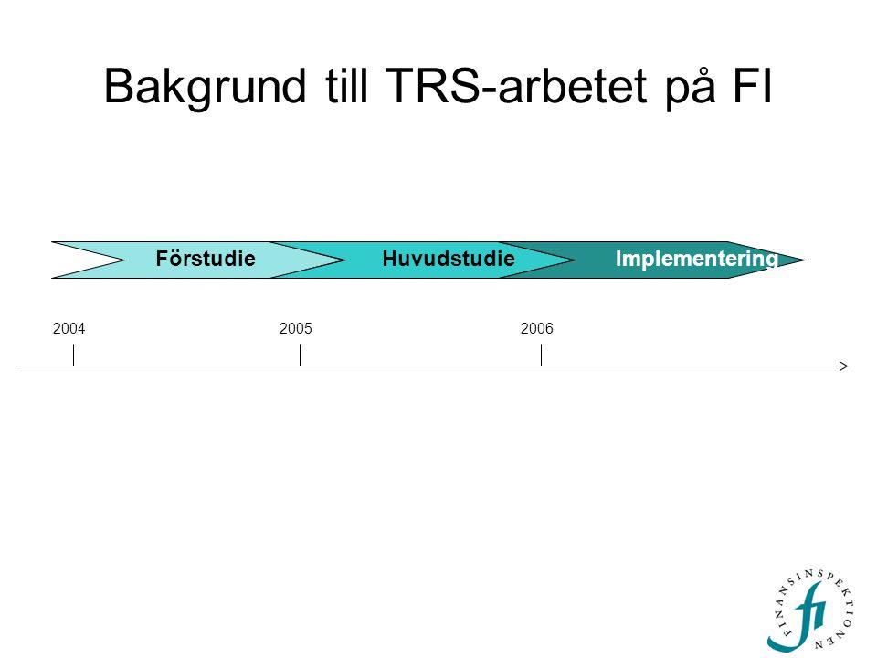 Bakgrund till TRS-arbetet på FI FörstudieHuvudstudieImplementering 200420052006