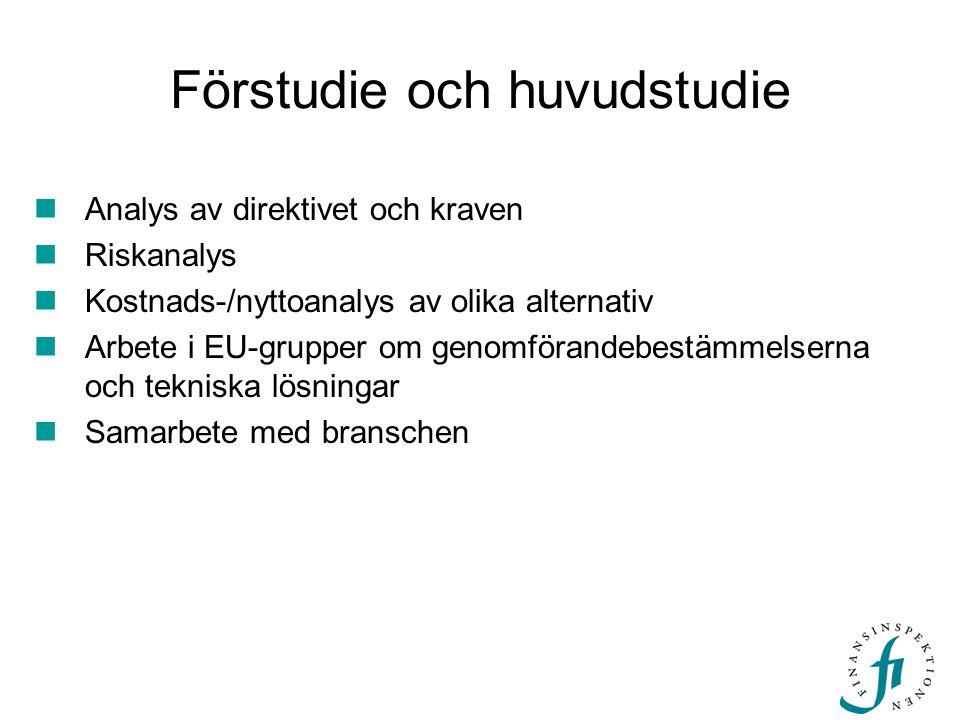 Förstudie och huvudstudie  Analys av direktivet och kraven  Riskanalys  Kostnads-/nyttoanalys av olika alternativ  Arbete i EU-grupper om genomför