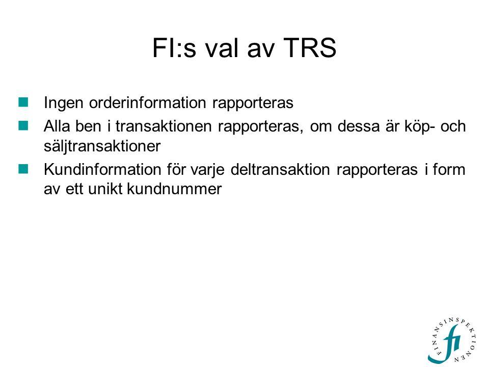 FI:s val av TRS  Ingen orderinformation rapporteras  Alla ben i transaktionen rapporteras, om dessa är köp- och säljtransaktioner  Kundinformation för varje deltransaktion rapporteras i form av ett unikt kundnummer