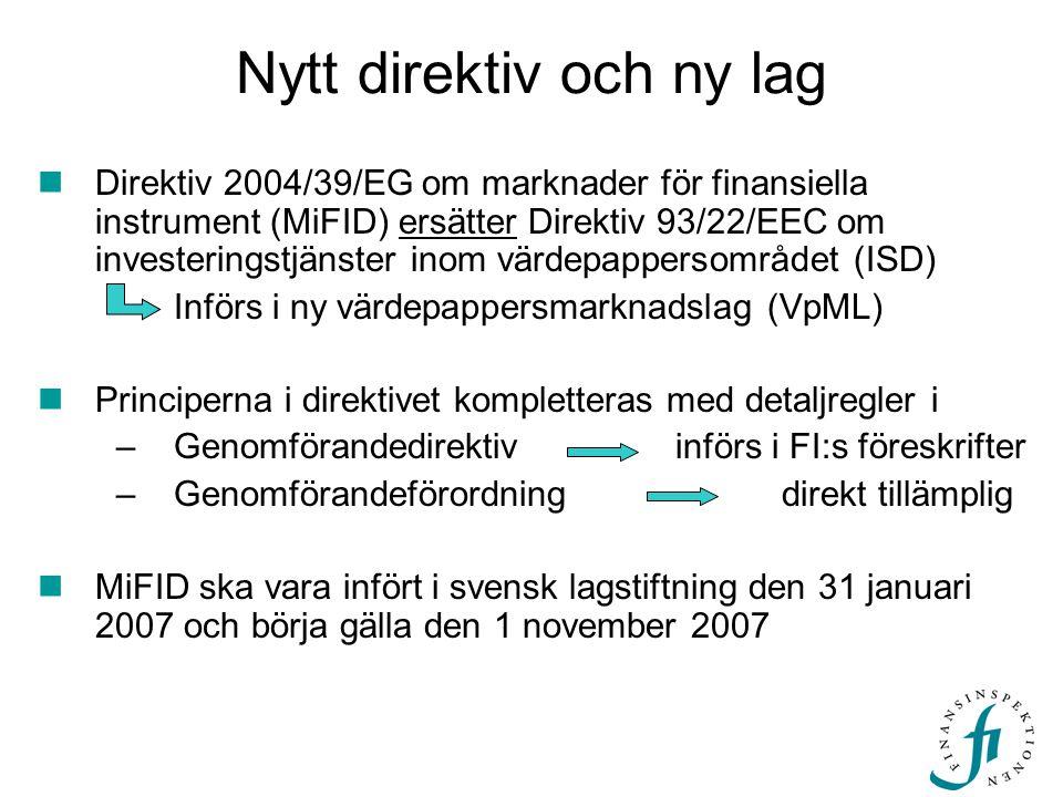 Nytt direktiv och ny lag  Direktiv 2004/39/EG om marknader för finansiella instrument (MiFID) ersätter Direktiv 93/22/EEC om investeringstjänster ino