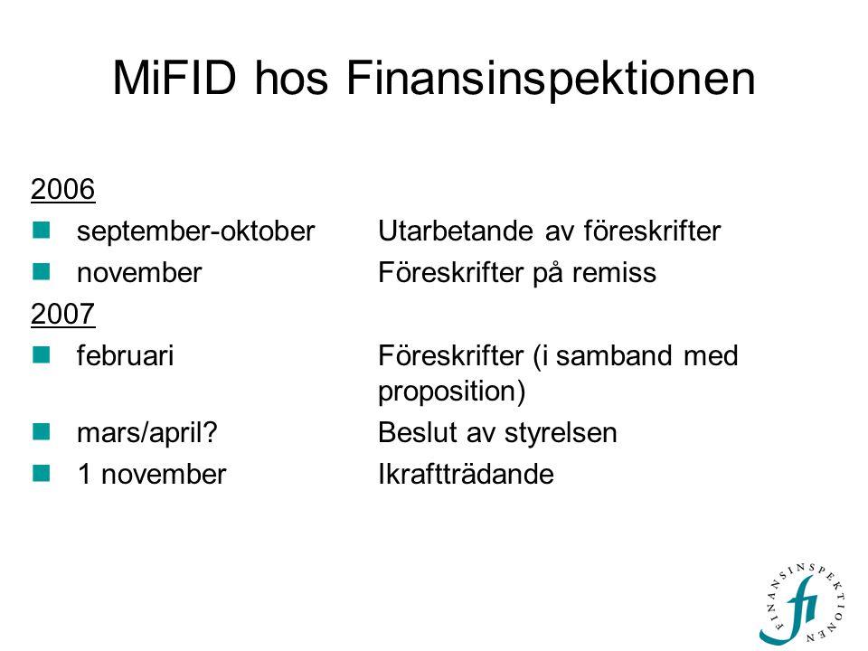 MiFID hos Finansinspektionen 2006  september-oktoberUtarbetande av föreskrifter  november Föreskrifter på remiss 2007  februari Föreskrifter (i samband med proposition)  mars/april?Beslut av styrelsen  1 november Ikraftträdande
