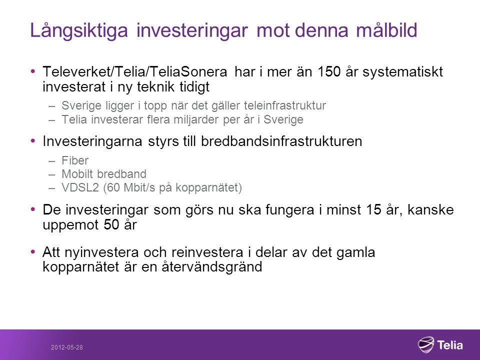 Långsiktiga investeringar mot denna målbild • Televerket/Telia/TeliaSonera har i mer än 150 år systematiskt investerat i ny teknik tidigt –Sverige lig