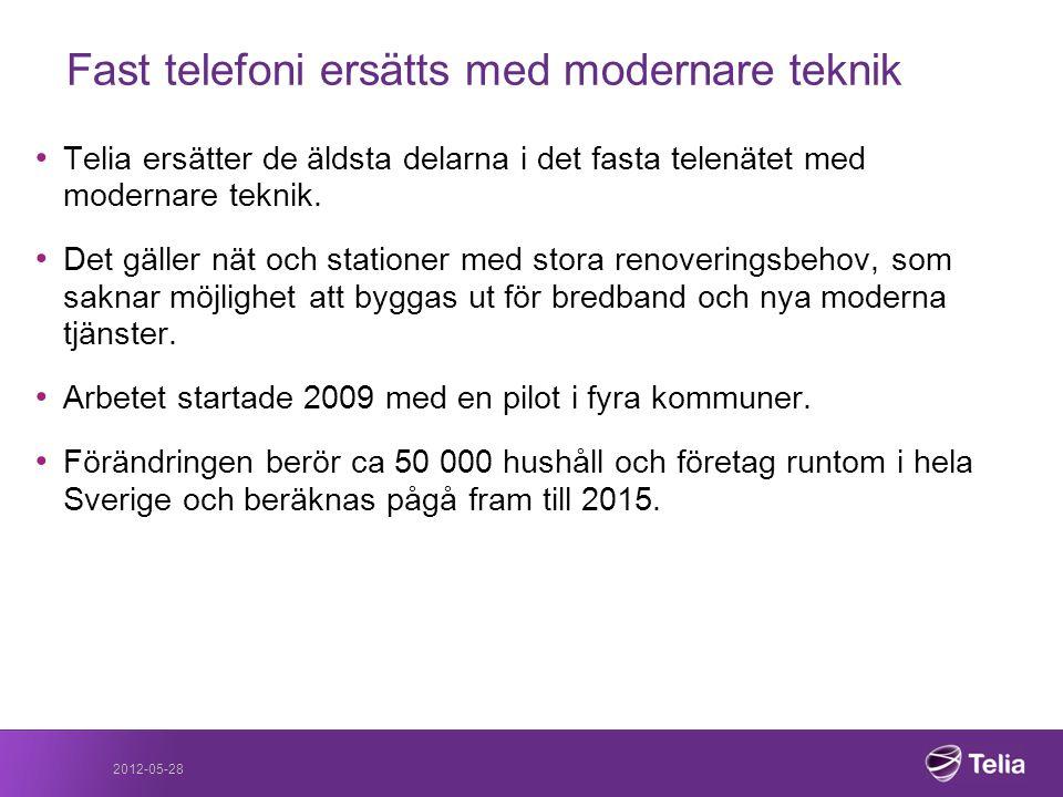 2012-05-28 Fast telefoni ersätts med modernare teknik • Telia ersätter de äldsta delarna i det fasta telenätet med modernare teknik. • Det gäller nät