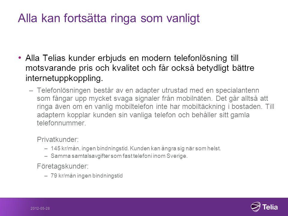 2012-05-28 Alla kan fortsätta ringa som vanligt • Alla Telias kunder erbjuds en modern telefonlösning till motsvarande pris och kvalitet och får också