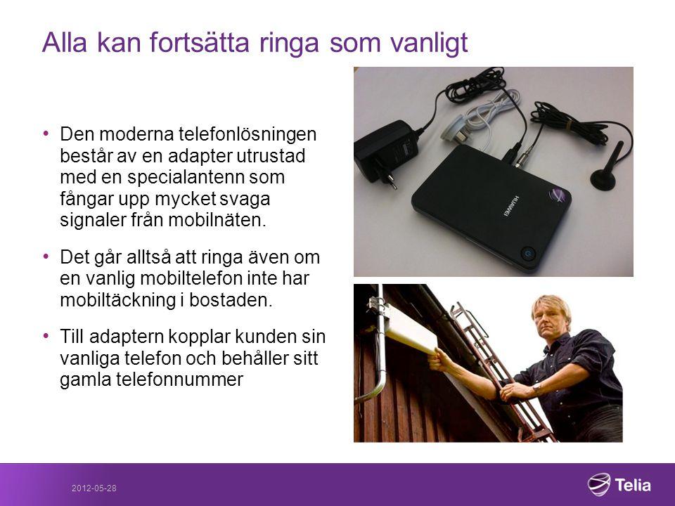 2012-05-28 • Den moderna telefonlösningen består av en adapter utrustad med en specialantenn som fångar upp mycket svaga signaler från mobilnäten. • D