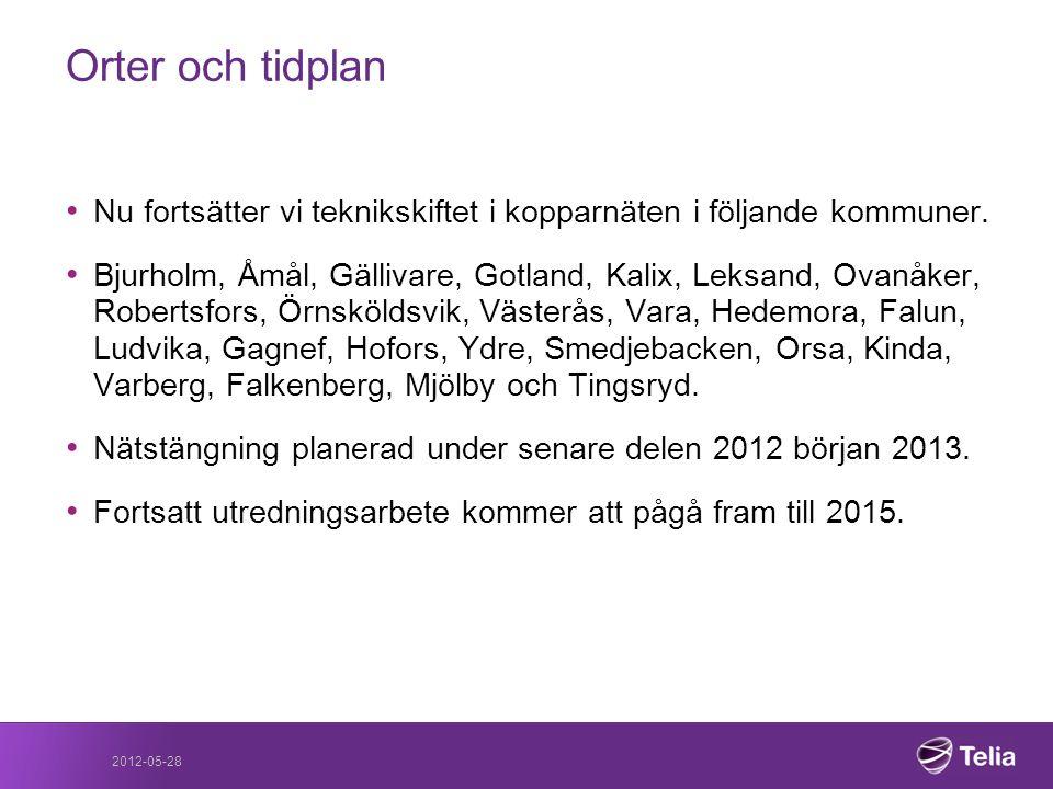 2012-05-28 Orter och tidplan • Nu fortsätter vi teknikskiftet i kopparnäten i följande kommuner. • Bjurholm, Åmål, Gällivare, Gotland, Kalix, Leksand,