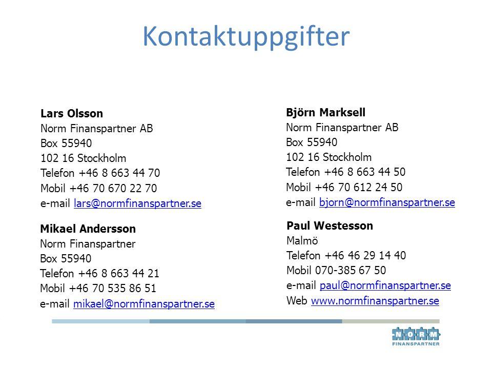 Kontaktuppgifter Lars Olsson Norm Finanspartner AB Box 55940 102 16 Stockholm Telefon +46 8 663 44 70 Mobil +46 70 670 22 70 e-mail lars@normfinanspar