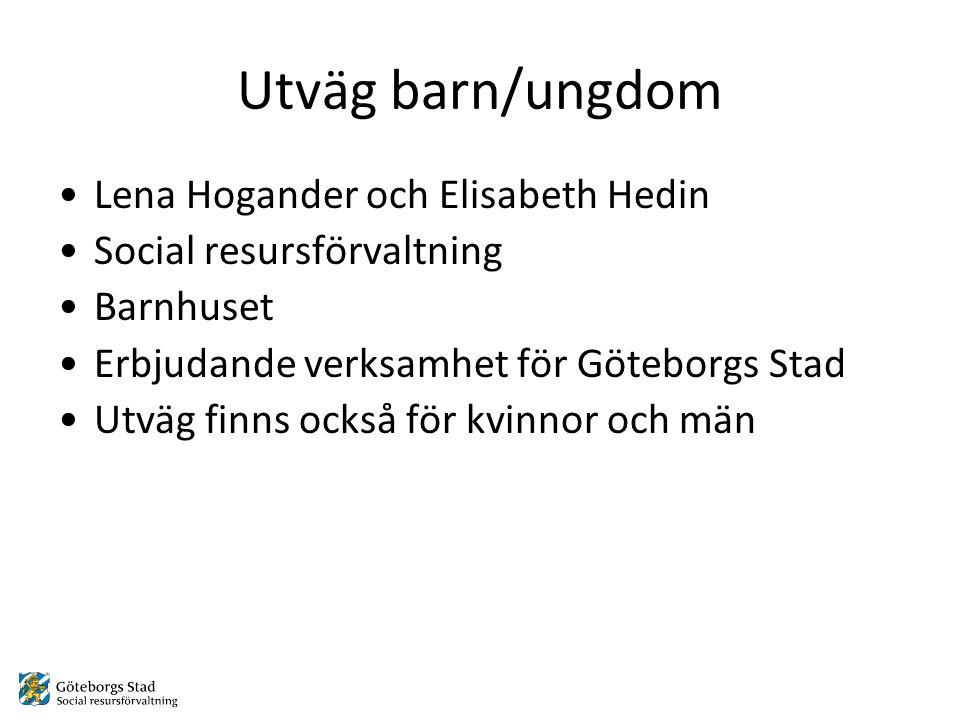 Utväg barn/ungdom •Lena Hogander och Elisabeth Hedin •Social resursförvaltning •Barnhuset •Erbjudande verksamhet för Göteborgs Stad •Utväg finns också