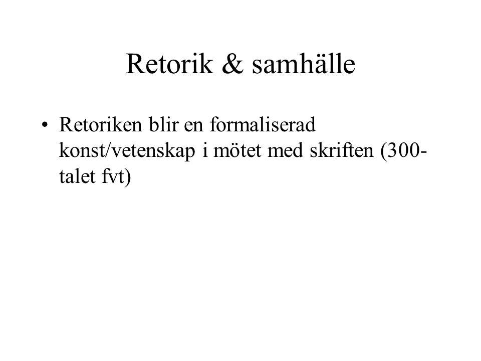 Retorik & samhälle •Retoriken blir en formaliserad konst/vetenskap i mötet med skriften (300- talet fvt)