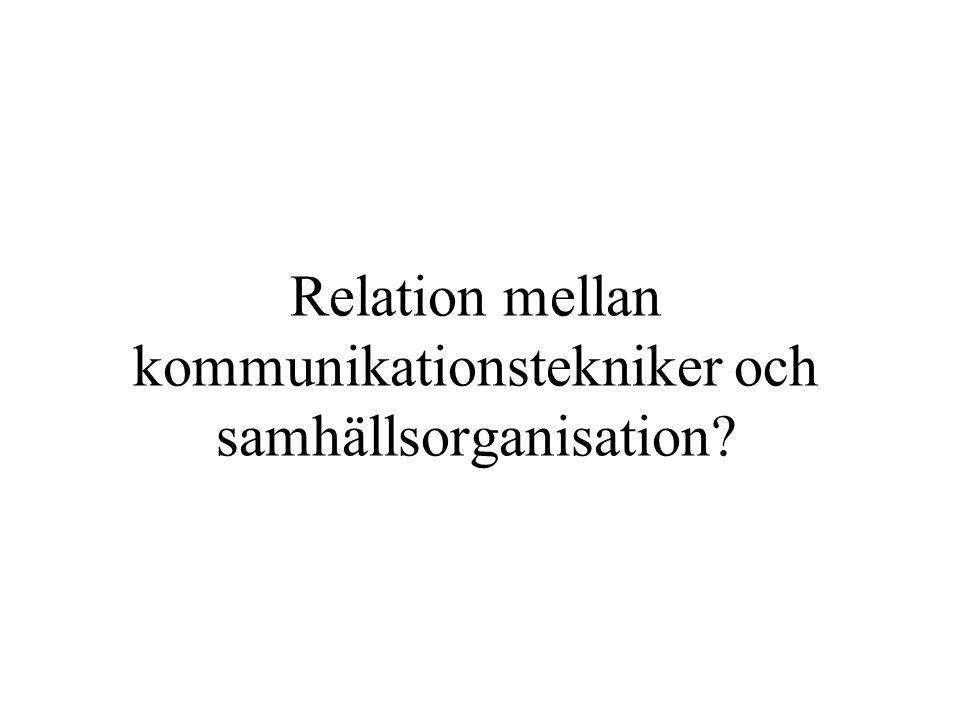 Relation mellan kommunikationstekniker och samhällsorganisation?