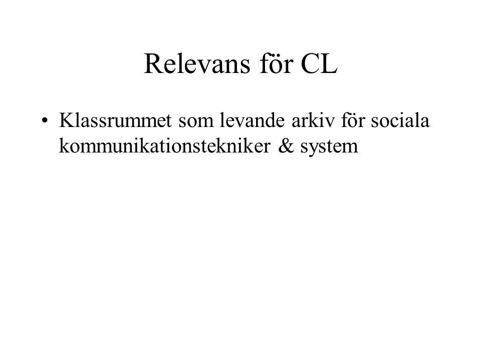 Relevans för CL •Klassrummet som levande arkiv för sociala kommunikationstekniker & system