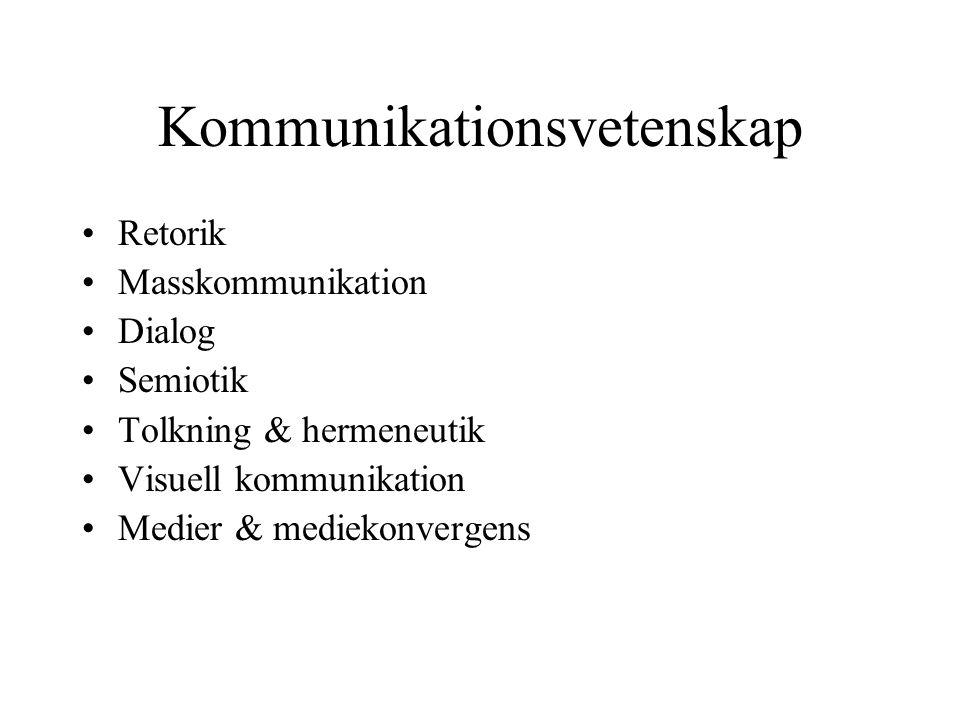Kommunikationsvetenskap •Retorik •Masskommunikation •Dialog •Semiotik •Tolkning & hermeneutik •Visuell kommunikation •Medier & mediekonvergens