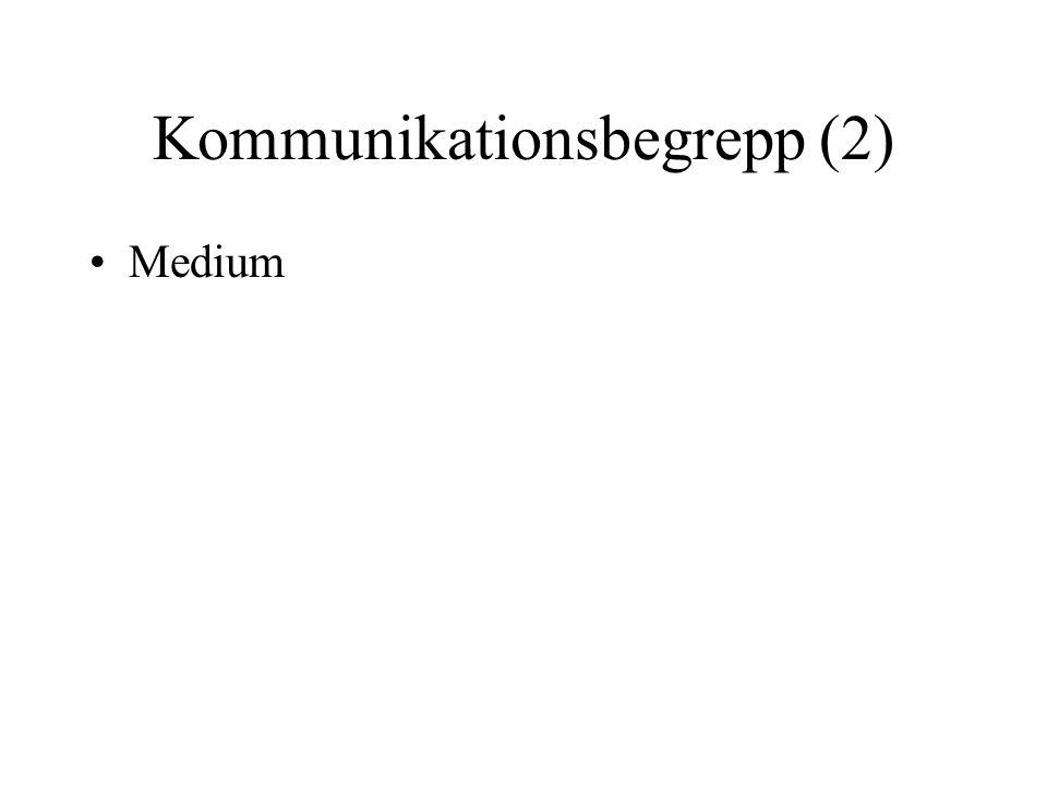 Kommunikationsbegrepp (2) •Medium