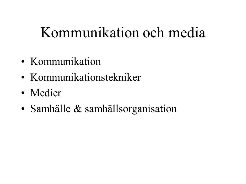 Kommunikation och media •Kommunikation •Kommunikationstekniker •Medier •Samhälle & samhällsorganisation