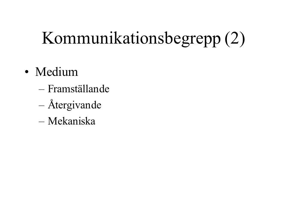 Kommunikationsbegrepp (2) •Medium –Framställande –Återgivande –Mekaniska