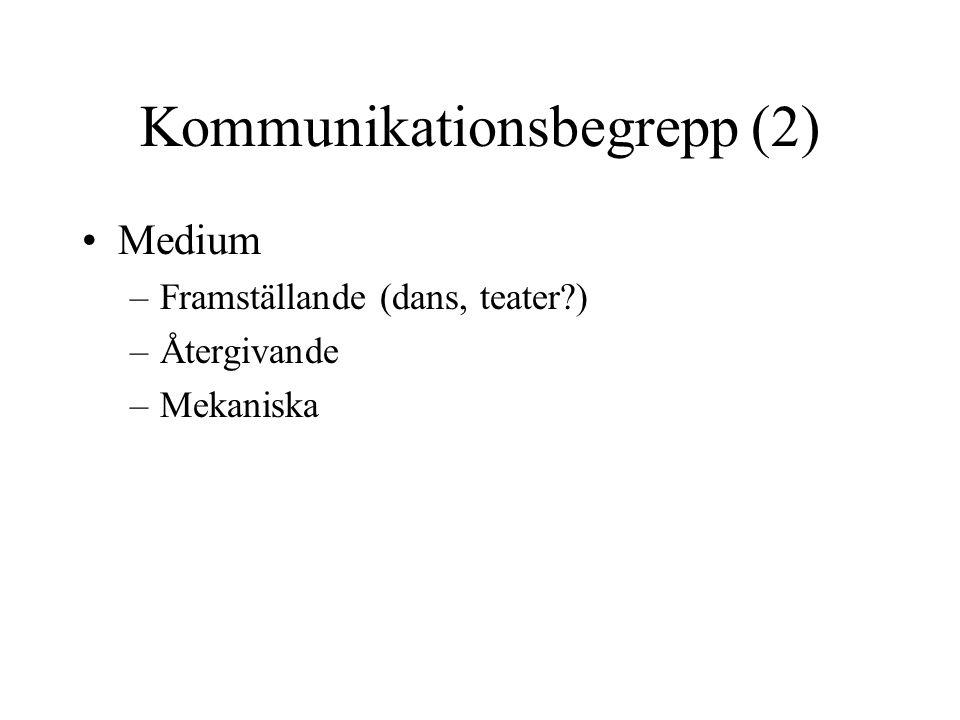 Kommunikationsbegrepp (2) •Medium –Framställande (dans, teater?) –Återgivande –Mekaniska
