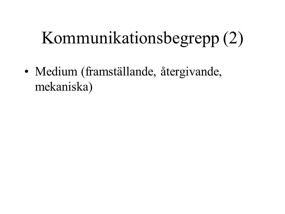 Kommunikationsbegrepp (2) •Medium (framställande, återgivande, mekaniska)