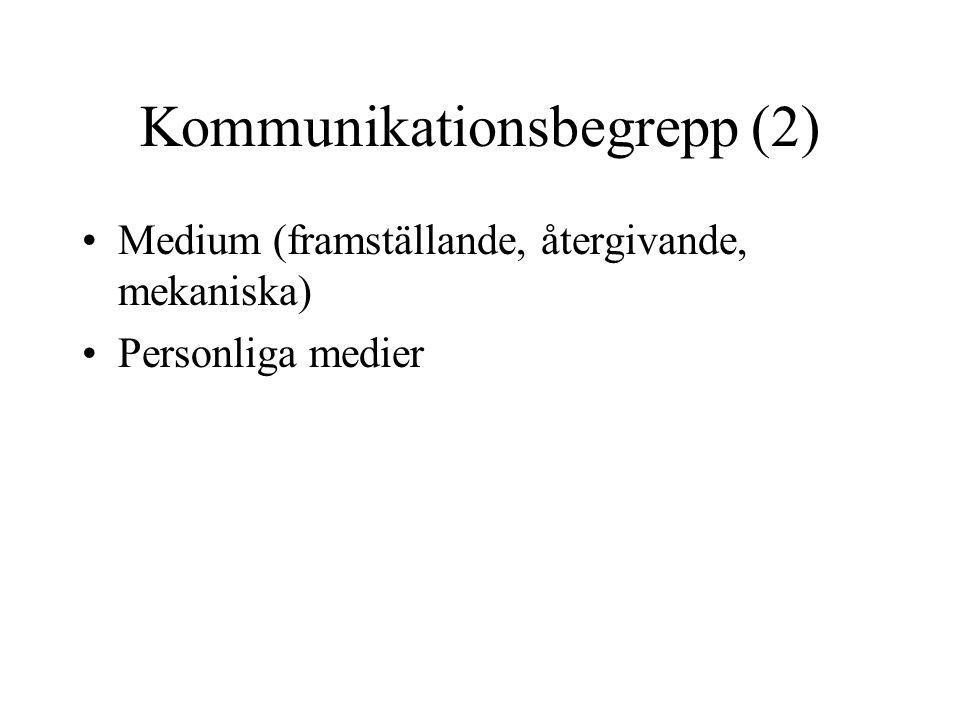 Kommunikationsbegrepp (2) •Medium (framställande, återgivande, mekaniska) •Personliga medier