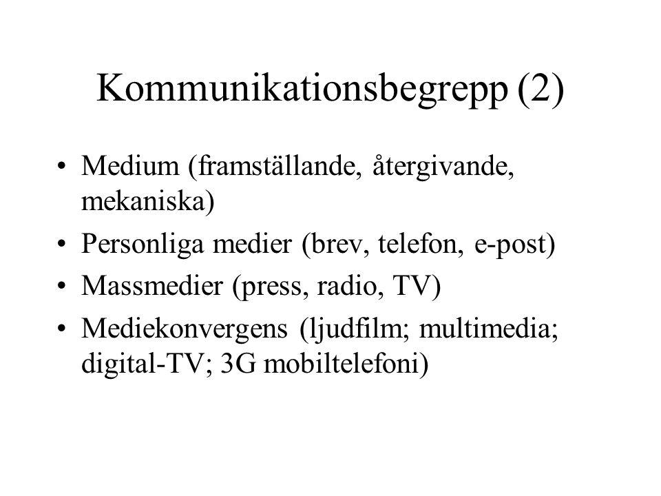 Kommunikationsbegrepp (2) •Medium (framställande, återgivande, mekaniska) •Personliga medier (brev, telefon, e-post) •Massmedier (press, radio, TV) •M