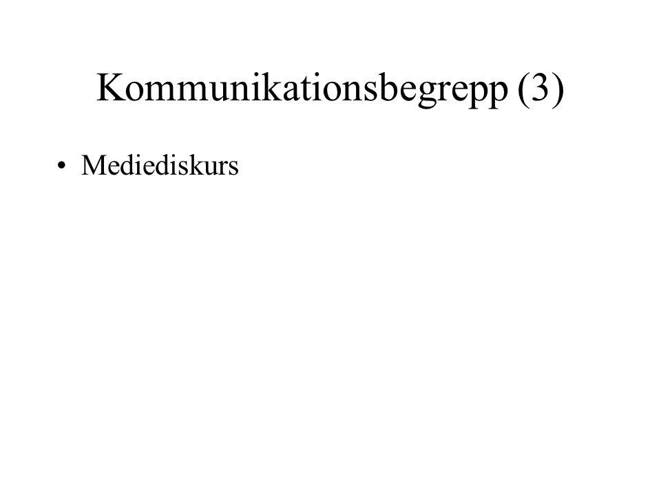 Kommunikationsbegrepp (3) •Mediediskurs