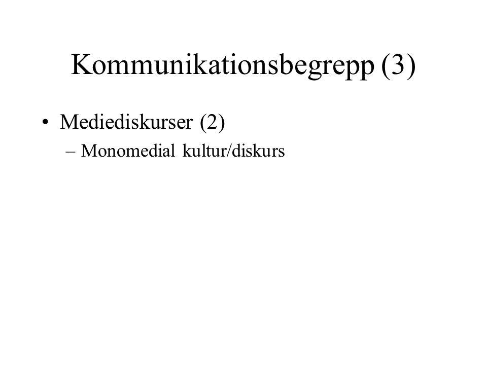 Kommunikationsbegrepp (3) •Mediediskurser (2) –Monomedial kultur/diskurs