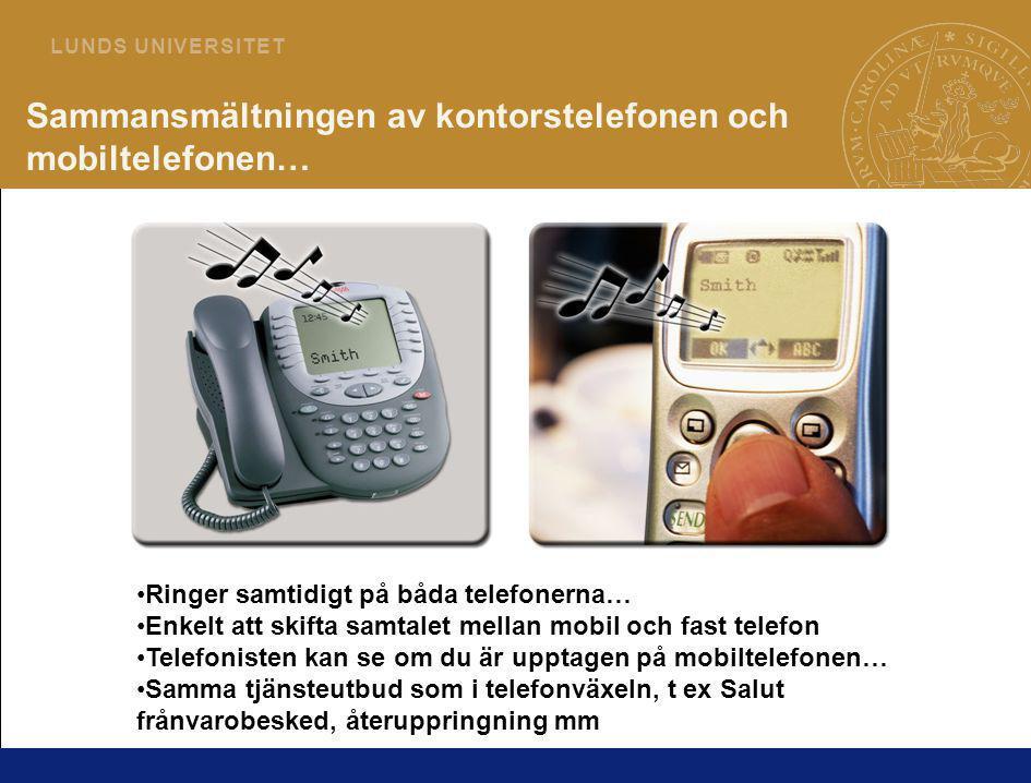 6 L U N D S U N I V E R S I T E T Sammansmältningen av kontorstelefonen och mobiltelefonen… •Ringer samtidigt på båda telefonerna… •Enkelt att skifta samtalet mellan mobil och fast telefon •Telefonisten kan se om du är upptagen på mobiltelefonen… •Samma tjänsteutbud som i telefonväxeln, t ex Salut frånvarobesked, återuppringning mm