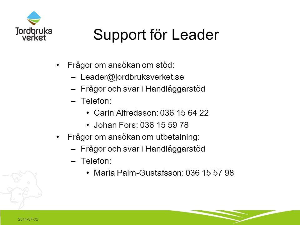 Support för Leader •Frågor om ansökan om stöd: –Leader@jordbruksverket.se –Frågor och svar i Handläggarstöd –Telefon: •Carin Alfredsson: 036 15 64 22