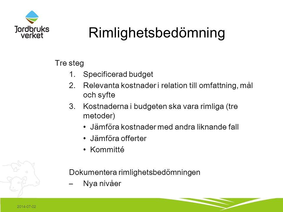 Rimlighetsbedömning Tre steg 1.Specificerad budget 2.Relevanta kostnader i relation till omfattning, mål och syfte 3.Kostnaderna i budgeten ska vara r