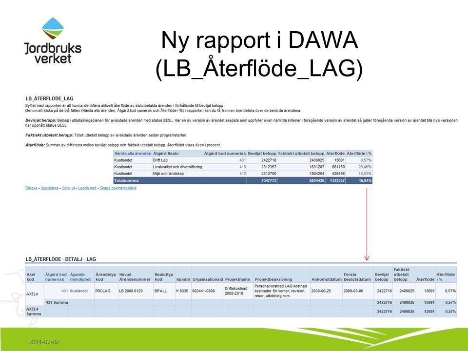 Ny rapport i DAWA (LB_Återflöde_LAG) 2014-07-02