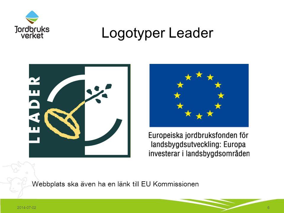 6 Logotyper Leader Webbplats ska även ha en länk till EU Kommissionen