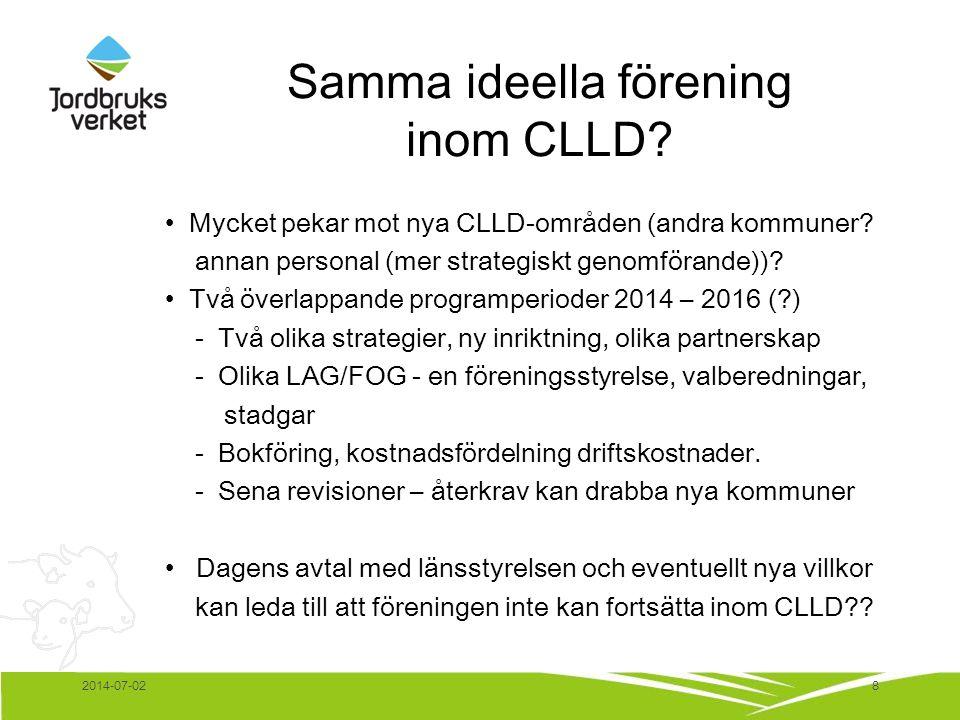 Samma ideella förening inom CLLD? • Mycket pekar mot nya CLLD-områden (andra kommuner? annan personal (mer strategiskt genomförande))? • Två överlappa