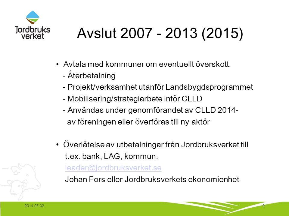 Avslut 2007 - 2013 (2015) • Avtala med kommuner om eventuellt överskott. - Återbetalning - Projekt/verksamhet utanför Landsbygdsprogrammet - Mobiliser