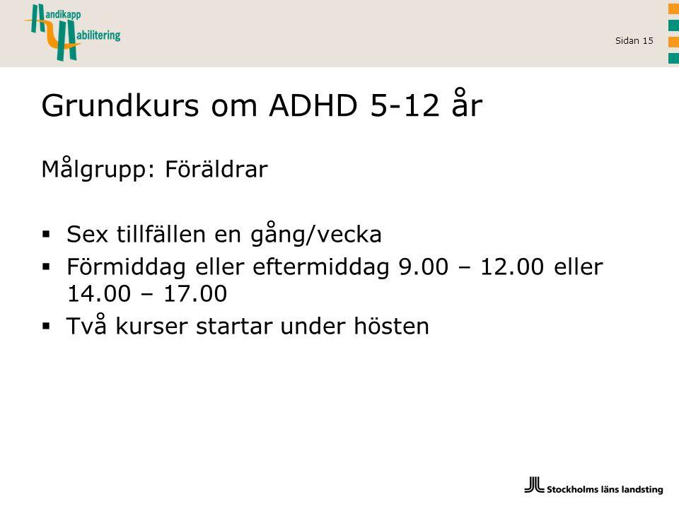 Sidan 15 Grundkurs om ADHD 5-12 år Målgrupp: Föräldrar  Sex tillfällen en gång/vecka  Förmiddag eller eftermiddag 9.00 – 12.00 eller 14.00 – 17.00 