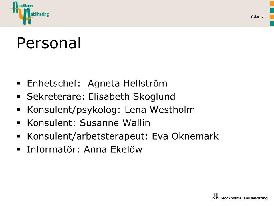 Sidan 9 Personal  Enhetschef: Agneta Hellström  Sekreterare: Elisabeth Skoglund  Konsulent/psykolog: Lena Westholm  Konsulent: Susanne Wallin  Ko