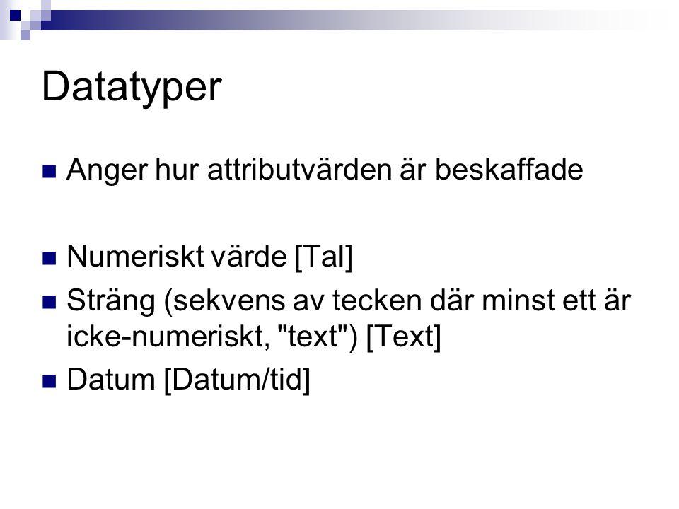 Datatyper  Anger hur attributvärden är beskaffade  Numeriskt värde [Tal]  Sträng (sekvens av tecken där minst ett är icke-numeriskt,