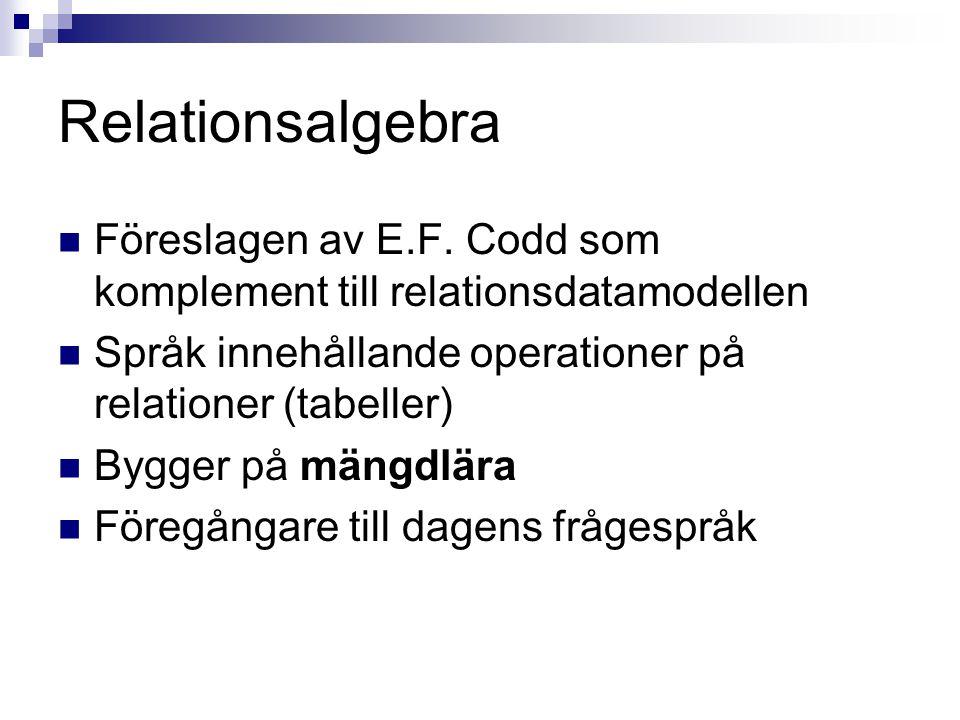 Relationsalgebra  Föreslagen av E.F. Codd som komplement till relationsdatamodellen  Språk innehållande operationer på relationer (tabeller)  Bygge
