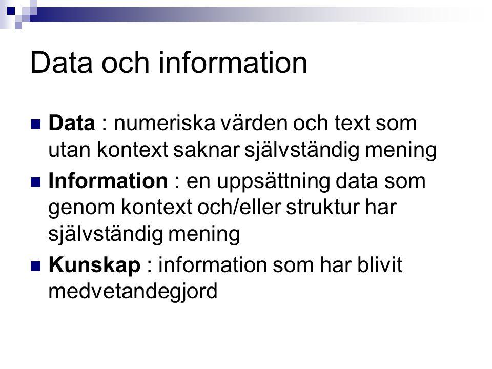 Data och information  Data : numeriska värden och text som utan kontext saknar självständig mening  Information : en uppsättning data som genom kontext och/eller struktur har självständig mening  Kunskap : information som har blivit medvetandegjord