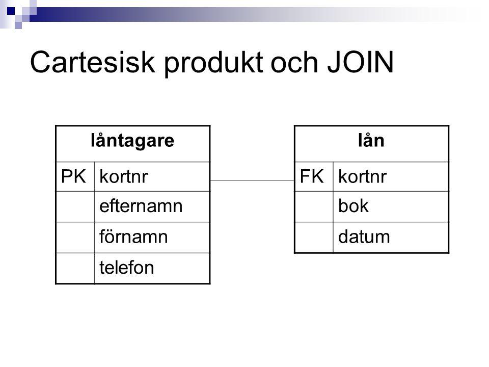 Cartesisk produkt och JOIN låntagare PKkortnr efternamn förnamn telefon lån FKkortnr bok datum