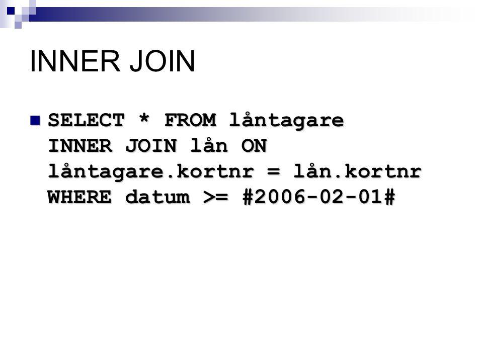 INNER JOIN  SELECT * FROMlåntagare INNER JOIN lån ON låntagare.kortnr = lån.kortnr WHERE datum >= #2006-02-01#  SELECT * FROM låntagare INNER JOIN l